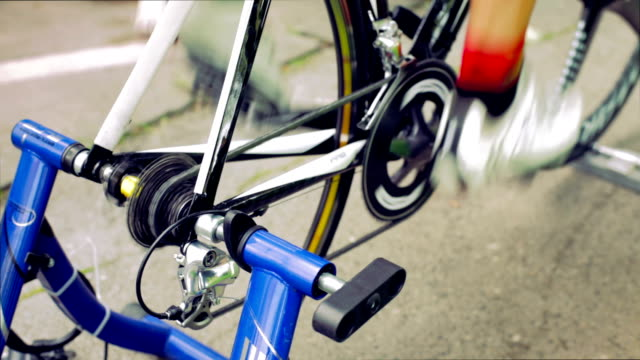 HD - Professional  Bicyclist on Bicycle Trainer