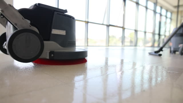 professional floor cleaning with scrubber machine - flooring stock videos & royalty-free footage