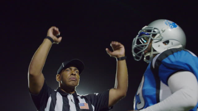 MS SLO MO. Professional football player crosses frame as referee signals touchdown.