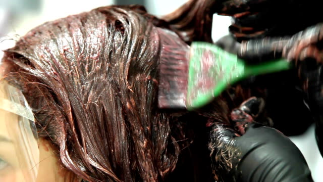vídeos de stock, filmes e b-roll de cabeleireiro feminino profissional de colorir cabelo - cor de cabelo