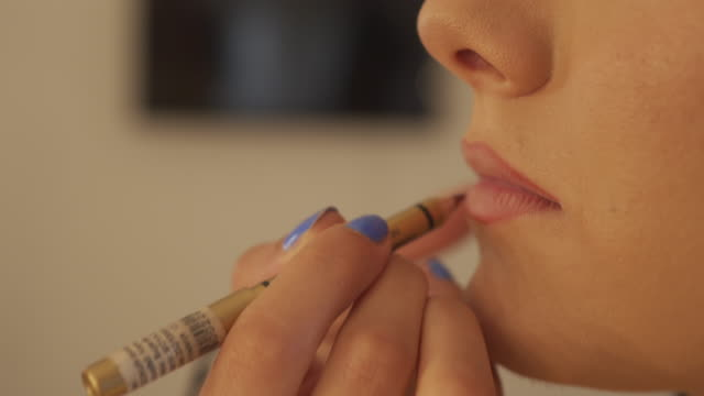 professional lip make-up - lip liner stock videos & royalty-free footage