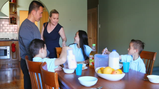 professional mother saying goodbye to family at breakfast - house husband stock videos & royalty-free footage