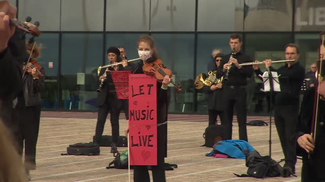 professional musicians in birmingham holding a silent protest to demand more targeted state support for the industry during the coronavirus crisis - assistance stock videos & royalty-free footage