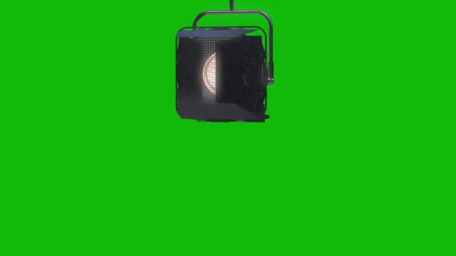 vídeos de stock e filmes b-roll de professional stage light with reflector animation on the green screen, design element of lighting equipment , moving and turning studio film spotlight projector with lens flares. - holofote