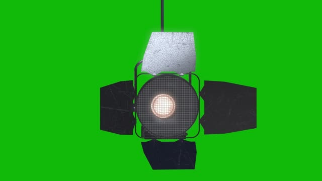 professional stage light with reflector animation on the green screen, design element of lighting equipment , moving and turning studio film spotlight projector with lens flares. - reflector stock videos & royalty-free footage