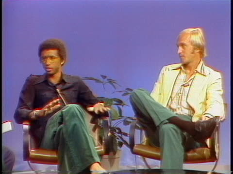 professional tennis players arthur ashe and stan smith discuss their careers. - sport stock videos & royalty-free footage