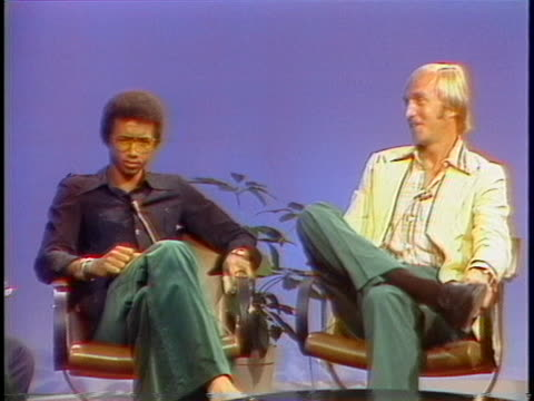 professional tennis players stan smith and arthur ashe discuss their careers - sport stock videos & royalty-free footage