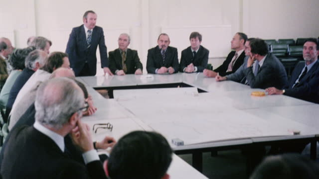 montage professionals from the num and the eec sitting around table having a conference / england, united kingdom - european union stock videos & royalty-free footage