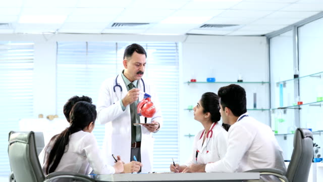 stockvideo's en b-roll-footage met ms professor explaining about human heart to science students in laboratory / delhi, india - overhemd en stropdas