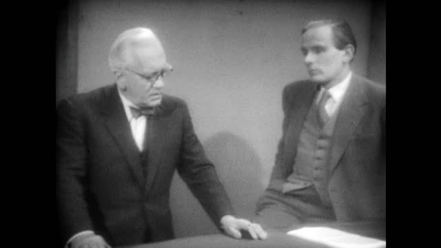 professor mark fletcher asks sir alexander fleming why penicillin shouldn't be free available to patients sir alexander fleming believes they may... - 1955 stock videos & royalty-free footage