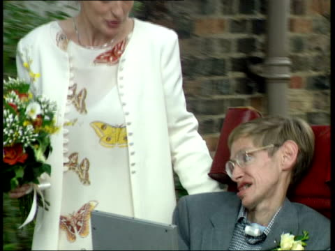 Professor Stephen Hawking PAN PULL OUT along with second wife Elaine after their wedding CMS Elaine Hawking CMS Professor Hawking
