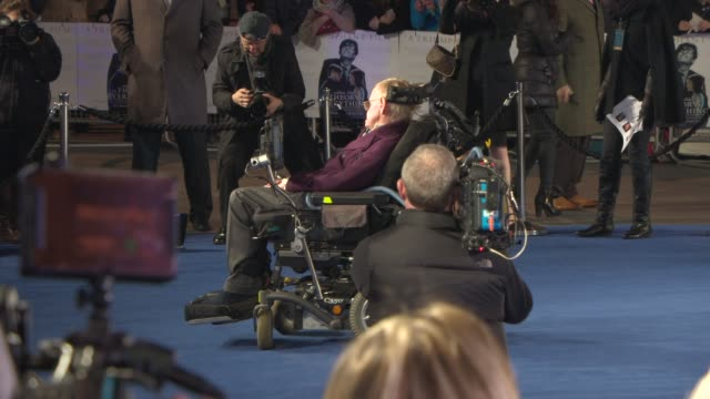 professor stephen hawkings at 'the theory of everything' uk film premiere at odeon leicester square on december 08 2014 in london england - premiere stock videos & royalty-free footage