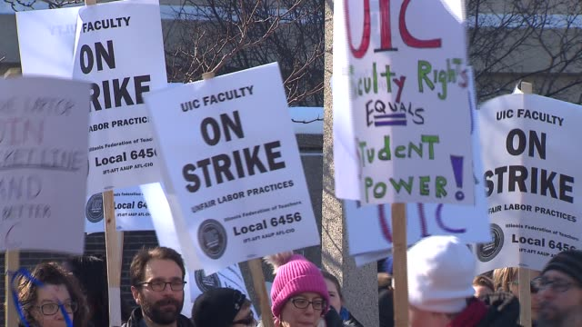 professors at the university of illinois at chicago went on strike on february 18, 2014 in chicago, illinois. this is the first time the school's 30... - trade union stock videos & royalty-free footage