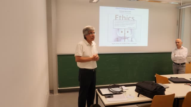 Professors Dr Raul Rojas introduces professor Dr Christoph Benzmüller to his presentation at Freie Universität on June 04 2019 in Berlin Germany The...