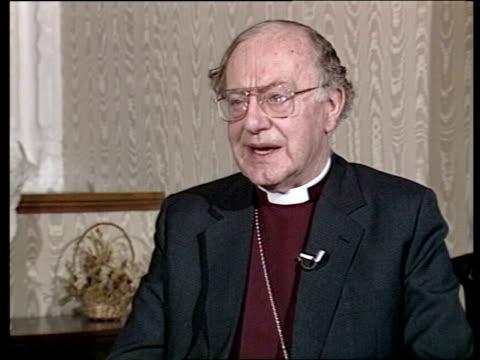 profile of archbishop of canterbury robert runcie london rt rev graham leonard cms rt rev graham leonard intvw sof i wouldn't say on morals cms... - altar stock videos & royalty-free footage