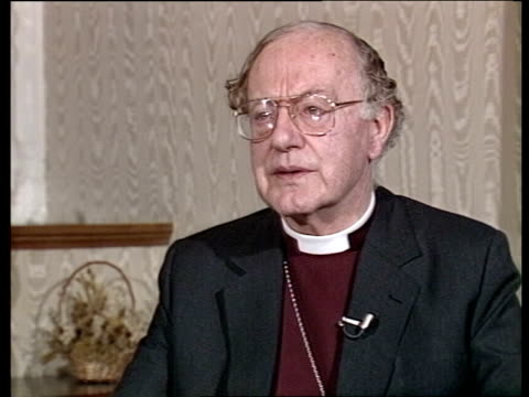 "profile of archbishop of canterbury robert runcie; london: lambeth palace: int cms dr robert runcie intvw sof - ""being bishop of -- archbishop"" - robert runcie stock videos & royalty-free footage"