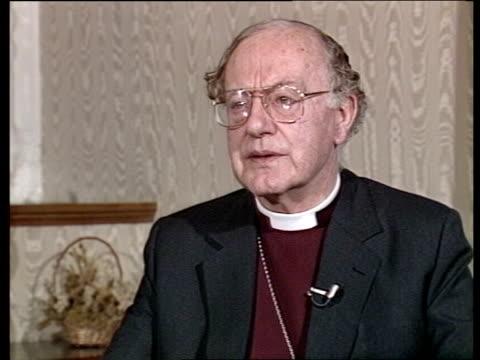 "profile of archbishop of canterbury robert runcie; london: lambeth palace: int cms dr robert runcie intvw sof - ""being bishop of -- archbishop"" - robert runcie stock videos & royalty-free footage"