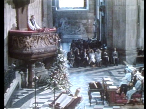 profile of archbishop of canterbury robert runcie; tx 14.6.85 st paul's cathedral: tms side congregation seated at falklands memorial service l-r pm... - robert runcie stock videos & royalty-free footage