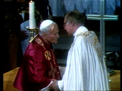 profile of archbishop of canterbury robert runcie; tx 29.5.82 kent: canterbury: ext gv back of cathedral l-r canterbury cathedral: int cms side... - pope john paul ii stock videos & royalty-free footage