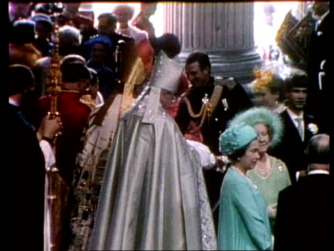 profile of archbishop of canterbury robert runcie; tx 29.7.81 london: st paul's cathedral: bv runcie shaking capt mark phillips and princess margaret... - robert runcie stock videos & royalty-free footage