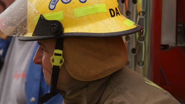 profile of firefighter taking a rest break - myrtle creek stock videos and b-roll footage