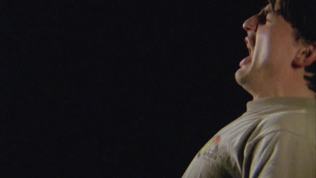 slo mo, cu, profile of man sneezing - mucus stock videos & royalty-free footage
