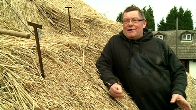 profile of master thatcher john kenward; england: kent: biggin hill: ext various of john kenward thatching roof john kenward interview sot kenward... - biggin hill stock videos & royalty-free footage