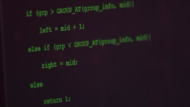 programmer typing code commands down scrolling computer screen. - information equipment stock videos & royalty-free footage