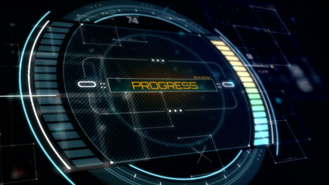 Progress Interface. Futuristic Status Panel in perspective view