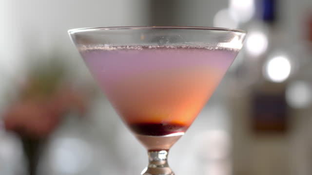 prohibiiton style aviation cocktail - martini glass stock videos and b-roll footage