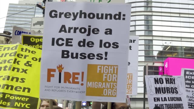 proimmigration activist demand that greyhound lines inc stop collaboration with ice demonstrators rallied outside of the port authority bus terminal... - ice us homeland security stock videos & royalty-free footage