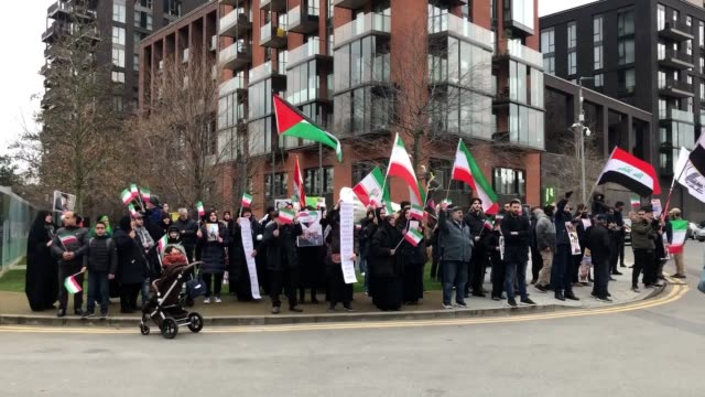 proiran protesters gather outside the us embassy in london following the kiiling of iranian general qassem soleimani by usled air strikes - government building stock videos & royalty-free footage