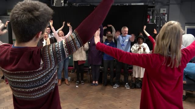 project in hackney brings dementia patients and musicians together; uk, london, hackney; dementia patients arriving, people singing and dancing at... - dementia stock videos & royalty-free footage