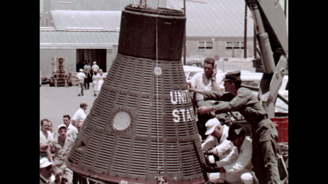 vídeos de stock e filmes b-roll de project mercury freedom 7 capsule being moved on january 01 1961 in cape canaveral florida - 1961