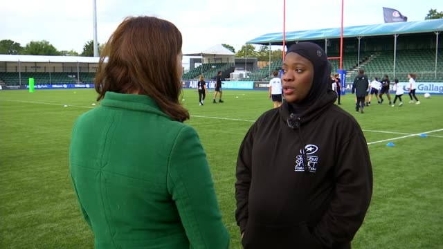 'project rugby' diversifying the next generation of players; england: london: allianz park ext various shots of young men and women playing rugby... - scoring stock videos & royalty-free footage