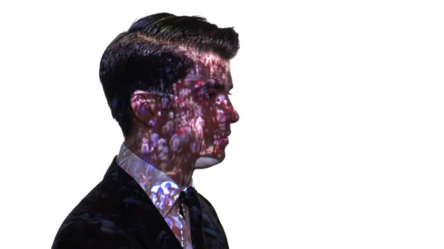 Projection of crowd timelapse on a businessman's face