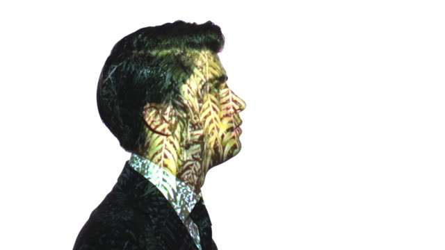 projection of leaves on a businessman's face - ethereal stock videos and b-roll footage