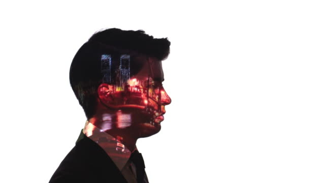 projection of port timelapse on a businessman's face - digital composite stock videos & royalty-free footage