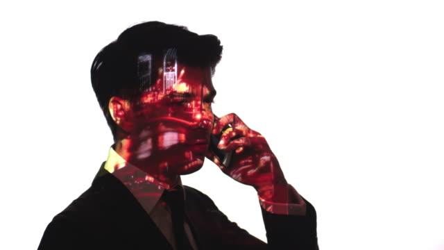 Projektion von Port Zeitraffer auf ein Geschäftsmann Gesicht