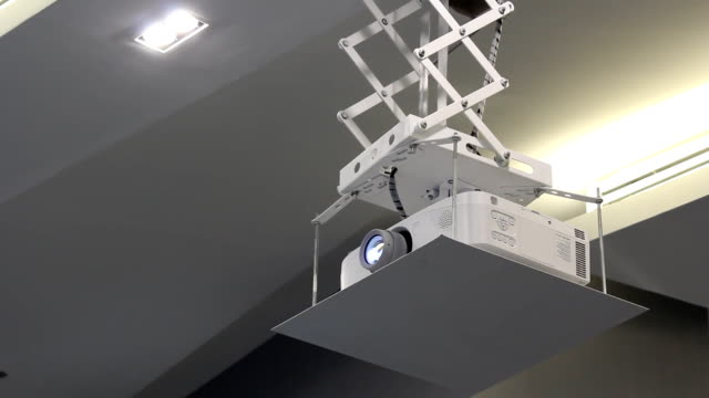 projector on ceiling - projection equipment stock videos and b-roll footage