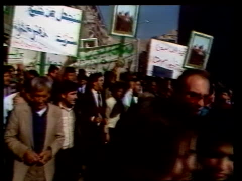 ProLibyan speeches and protests following US military action No information on individual shots Damascus EXT TMS ProLibyan demos in street along...