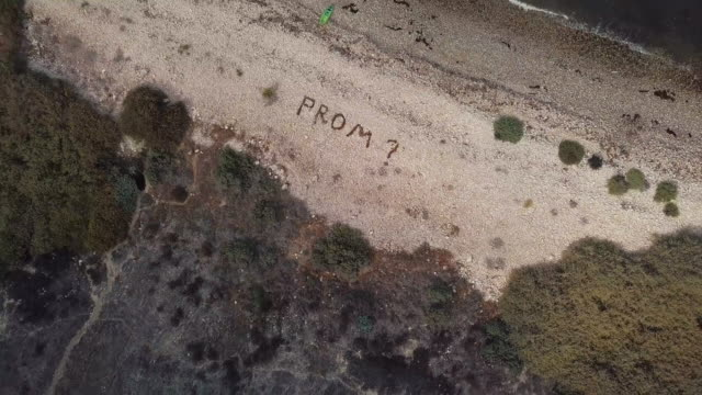 prom proposal - aerial drone shot - punctuation mark stock videos & royalty-free footage