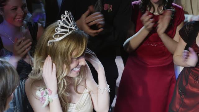 ms cs prom queen receiving flowers / cedar hills, utah, usa - high school prom stock videos and b-roll footage