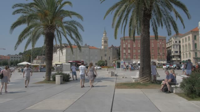 promenade and the church and monastery of st. frane (st. francis), split, dalmatian coast, croatia, europe - promenade stock videos & royalty-free footage