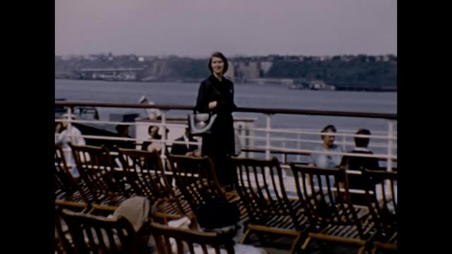 1957 promenade deck of rms queen elizabeth - dress stock videos & royalty-free footage