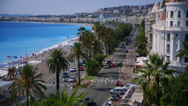 ws promenade des anglais, nice, france - boulevard stock videos & royalty-free footage