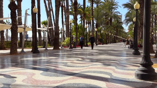 promenade in alicante city. spain - promenade stock videos & royalty-free footage