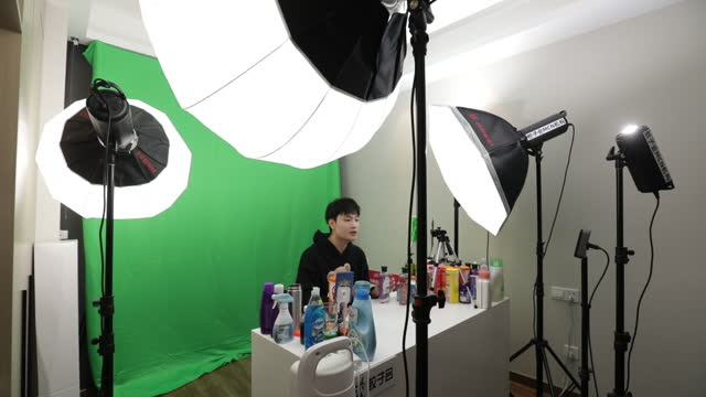 promotional live stream performed during alibaba 11.11. shopping festival in hangzhou, zhejiang province, china, on wednesday, november 11, 2020. - live ereignis stock-videos und b-roll-filmmaterial