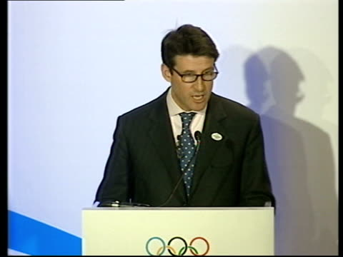 vídeos de stock, filmes e b-roll de promotional video launched; itn england: london: int lord coe press conference sot - we shouldn't ask what these olympics can do for us, we should... - sebastian coe