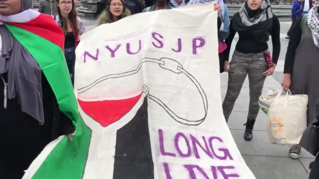ProPalestine supporters attend a demonstration in Washington Square Park New York United States on April 27 2018